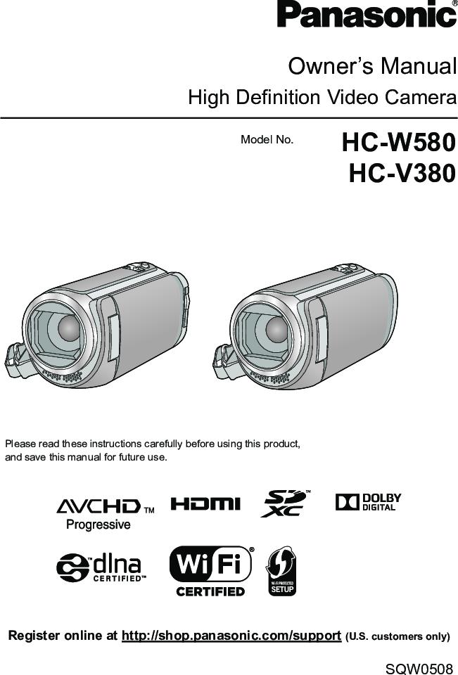 Panasonic HC W580/HC V380 W580 Operating Instructions Adv En Om