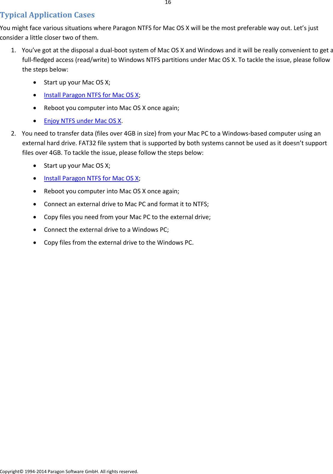 Paragon NTFS For Mac OS X 12 Operating Instructions En
