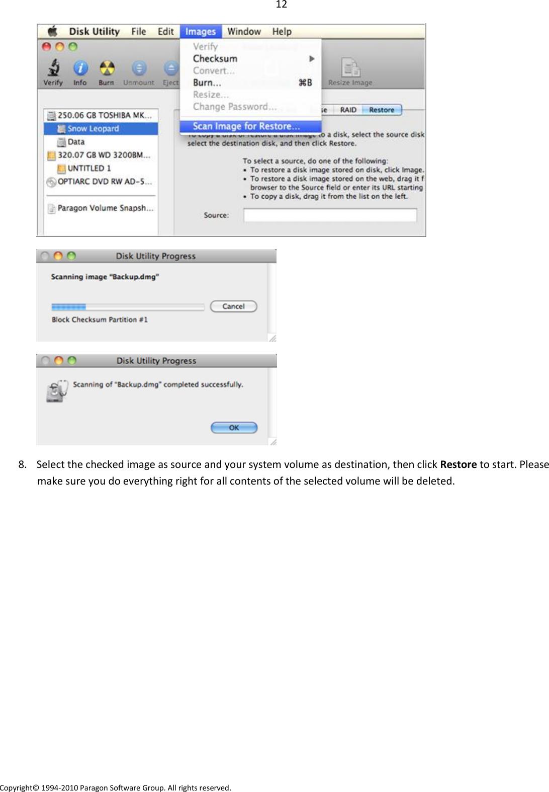 Paragon Volume Snapshot For Mac OS X User Manual En