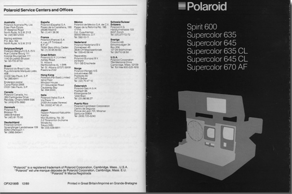Page 1 of 12 - Polaroid  Supercolor 635 CL - Instructions For Use Spirit 600 645 635CL 645CL 670AF ML