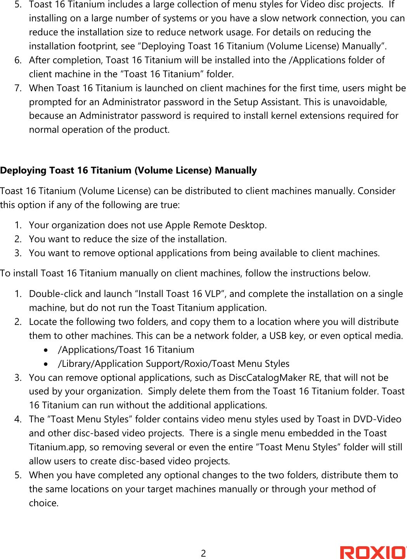 Roxio Toast 16 Titanium Deployment Guide Pro Volume License en
