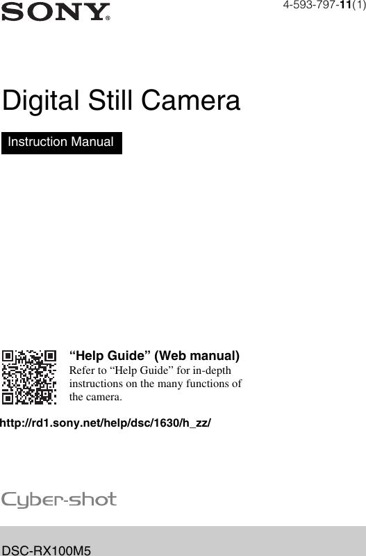 Sony DSC RX100M5 Cyber Shot RX100 M5 Instruction Manual IM EN