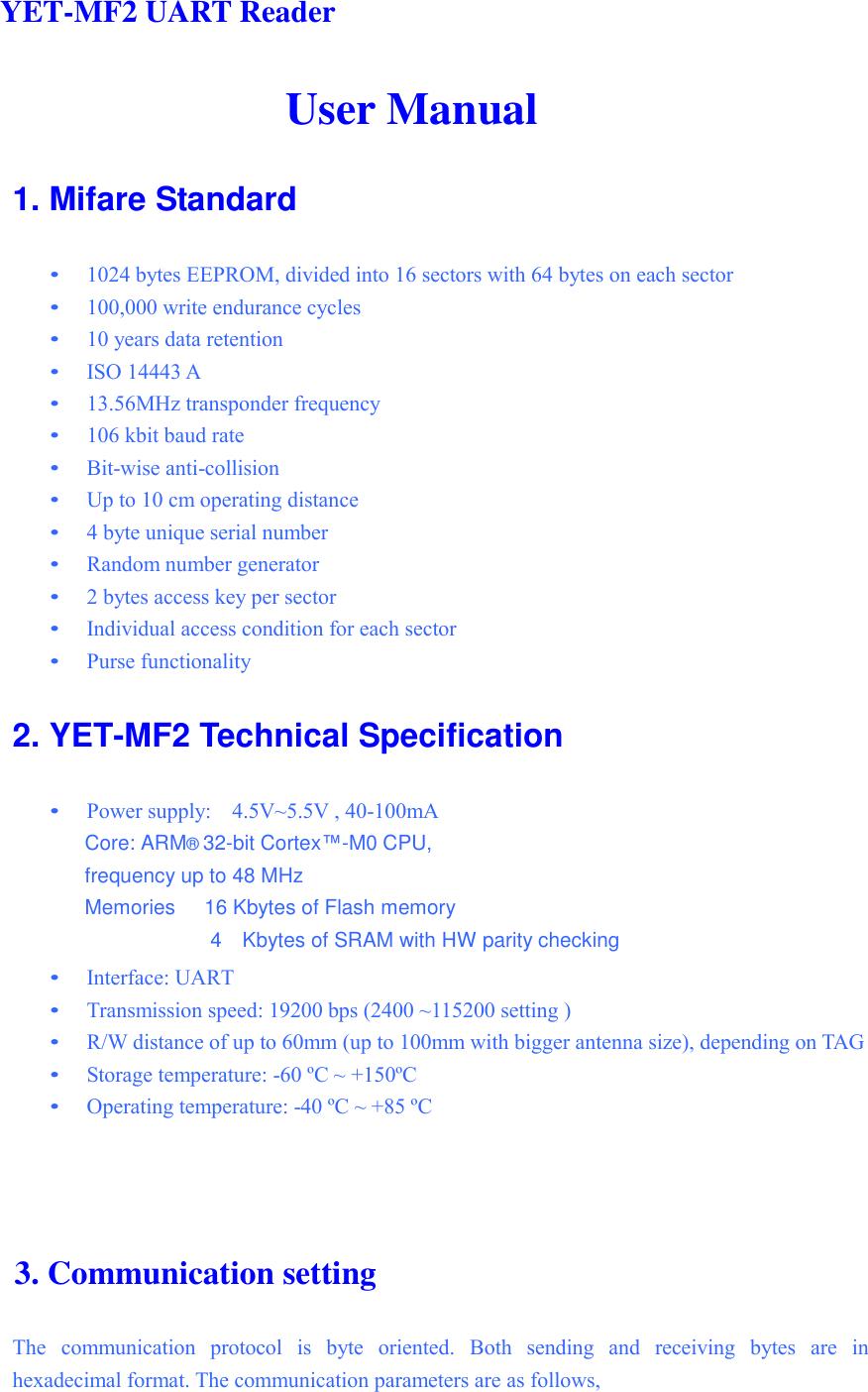 yetong technology YET-MF2 RFID Reader User Manual